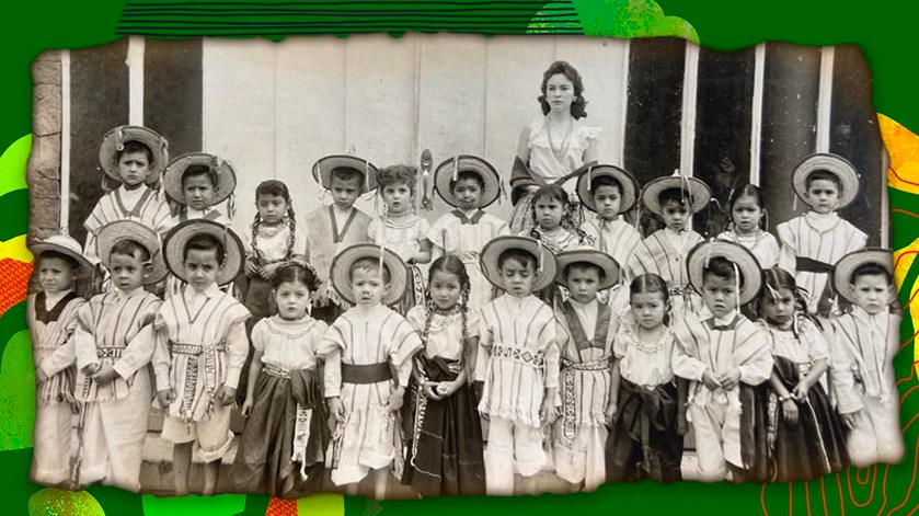 A black and white image of young students in Mexico with their teacher Maria de Lourdes Sotomayor Mehdi standing in the back. Yusuf Mehdi provided this image to accompany the story about his mother Maria de Lourdes Sotomayor Mehdi, who was a teacher in Mexico.